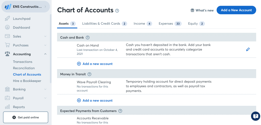 Wave Review Chart Of Accounts