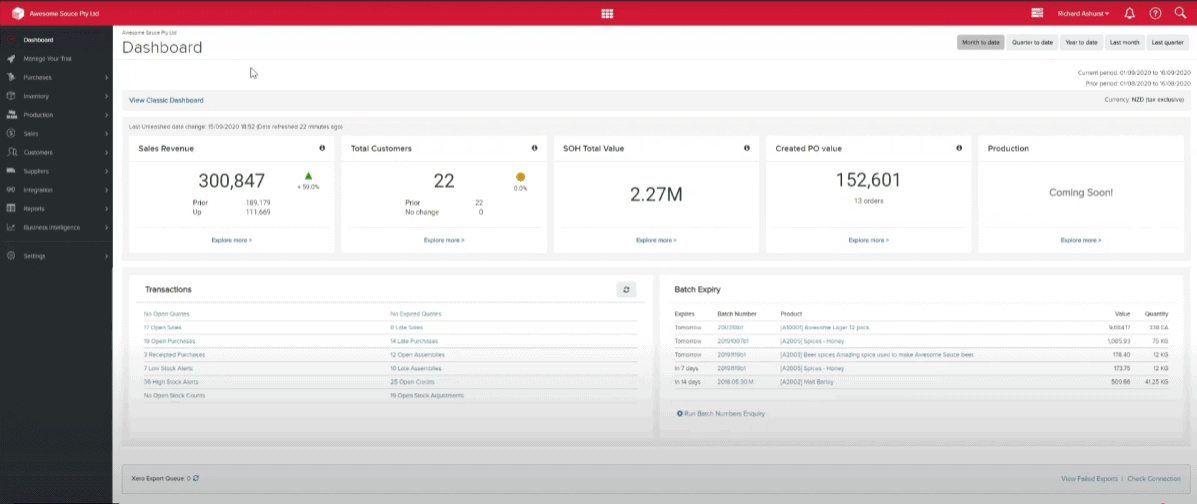 Screengrab of Unleashed dashboard