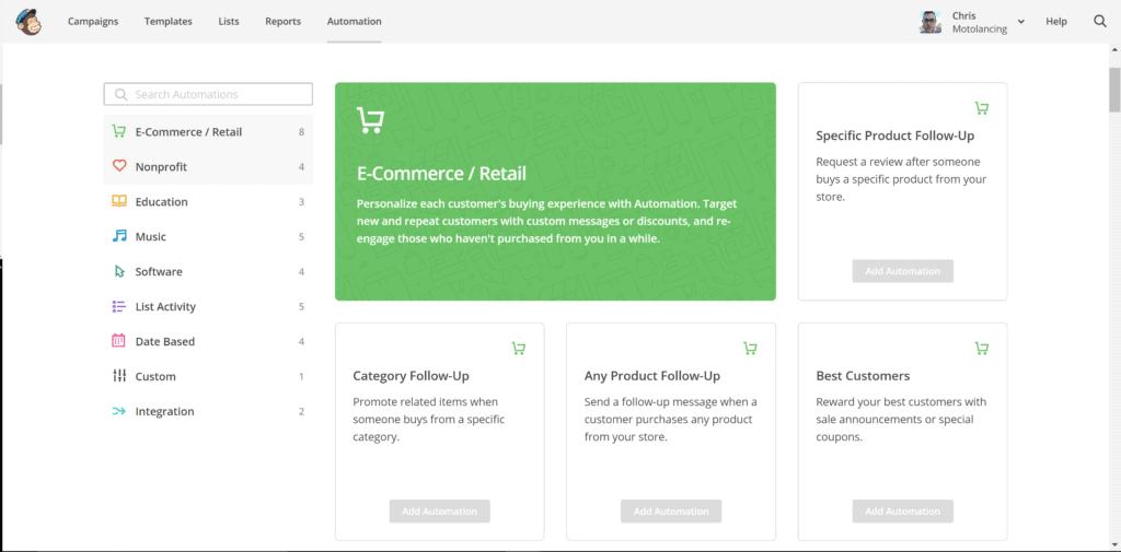 mailchimp ecommerce campaign