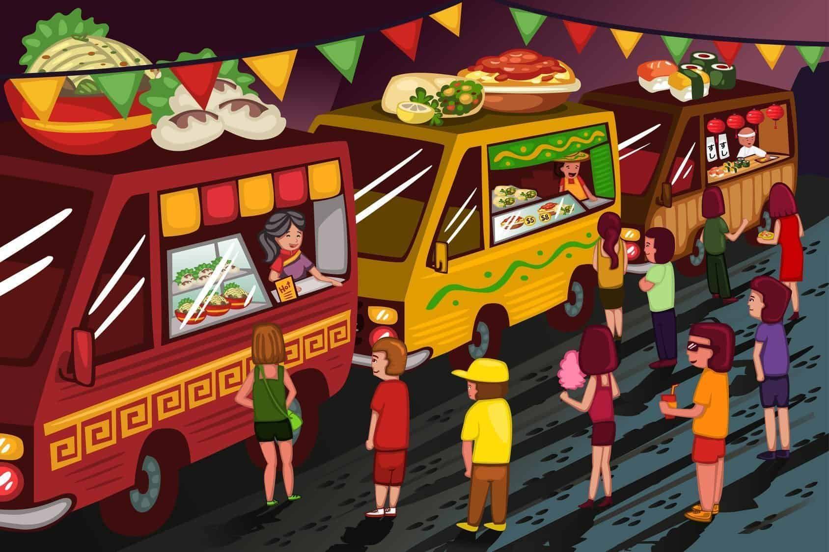 A vector illustration of people in food truck festival