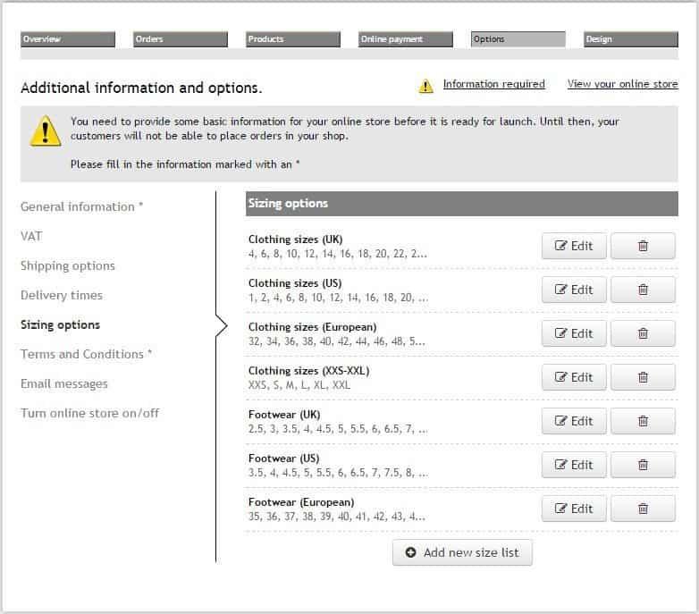SimpleSite ecommerce feature