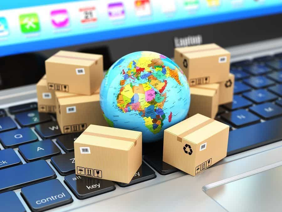 Shipping, delivery and logistic concept. Earth and cardboard box