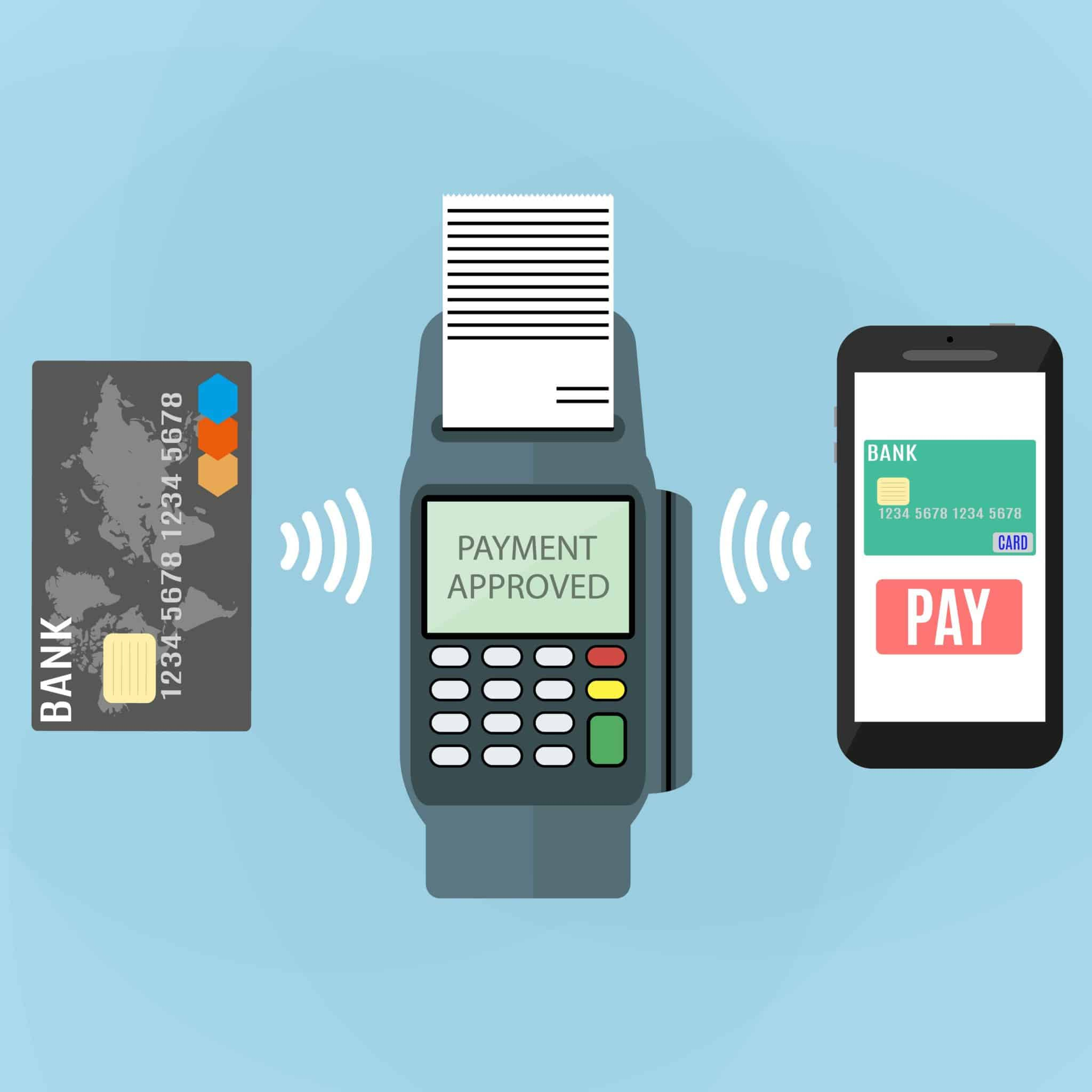 Pos terminal confirms the payment by smartphone and card. Vector illustration in flat design on blue background. nfc payments concept