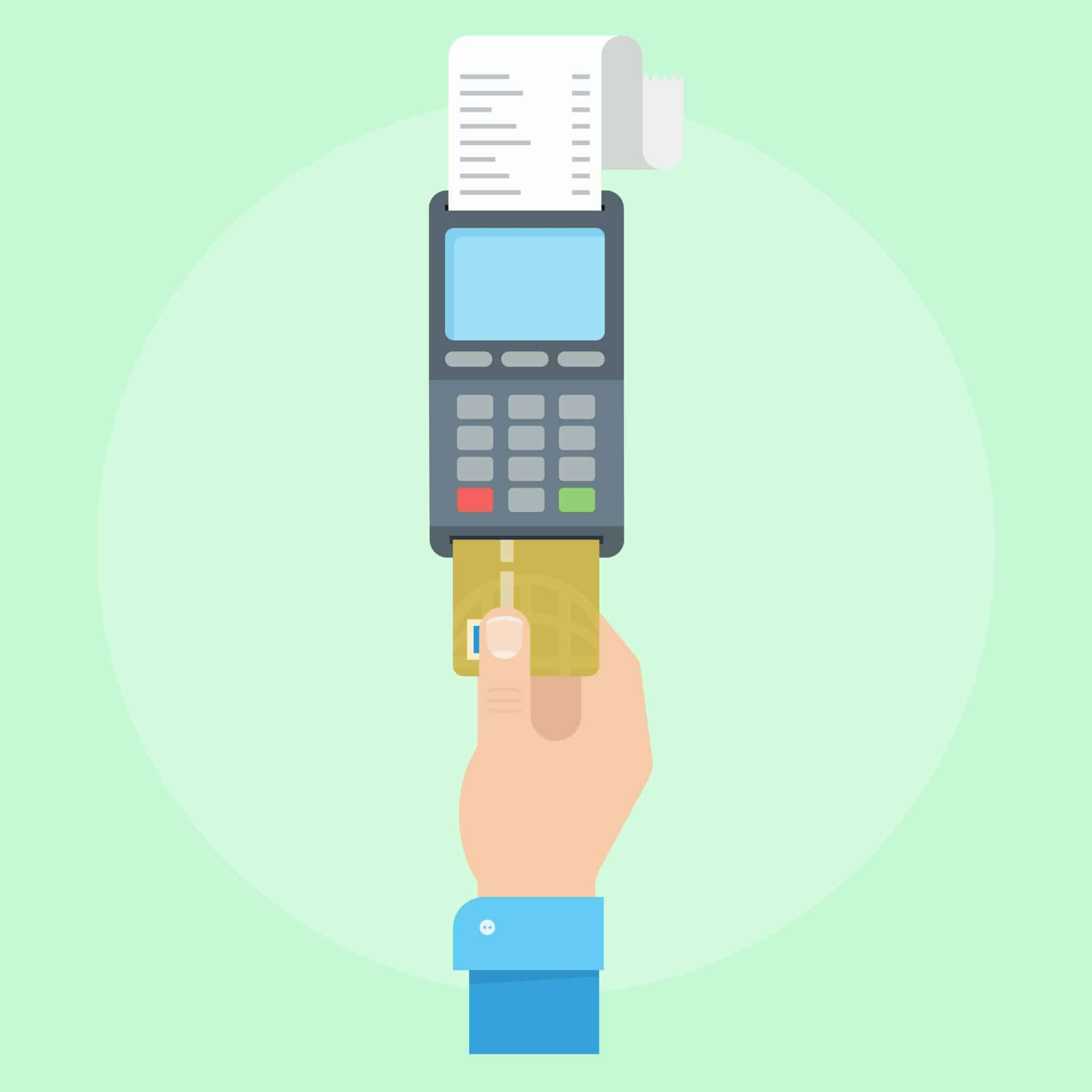 Pos payment. Payment credit card concept. Pos pay. POS terminal with inserted credit card. Pos payment vector illustration. Payment with a credit card machine. Cashless vending.
