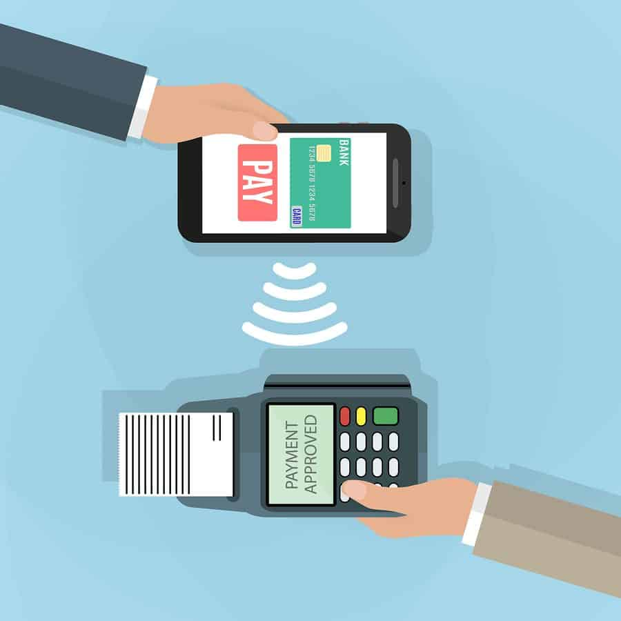 Pos terminal confirms the payment by smartphone. Vector illustration in flat design on blue background. nfc payments concept