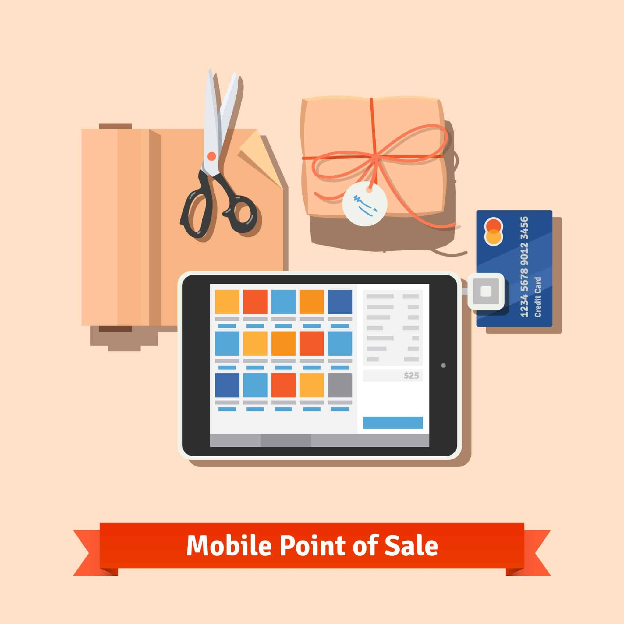 Small retail business payments: modern tablet POS terminal for credit card payments. Packaged purchase, wrapping paper and scissors. Flat vector illustration.