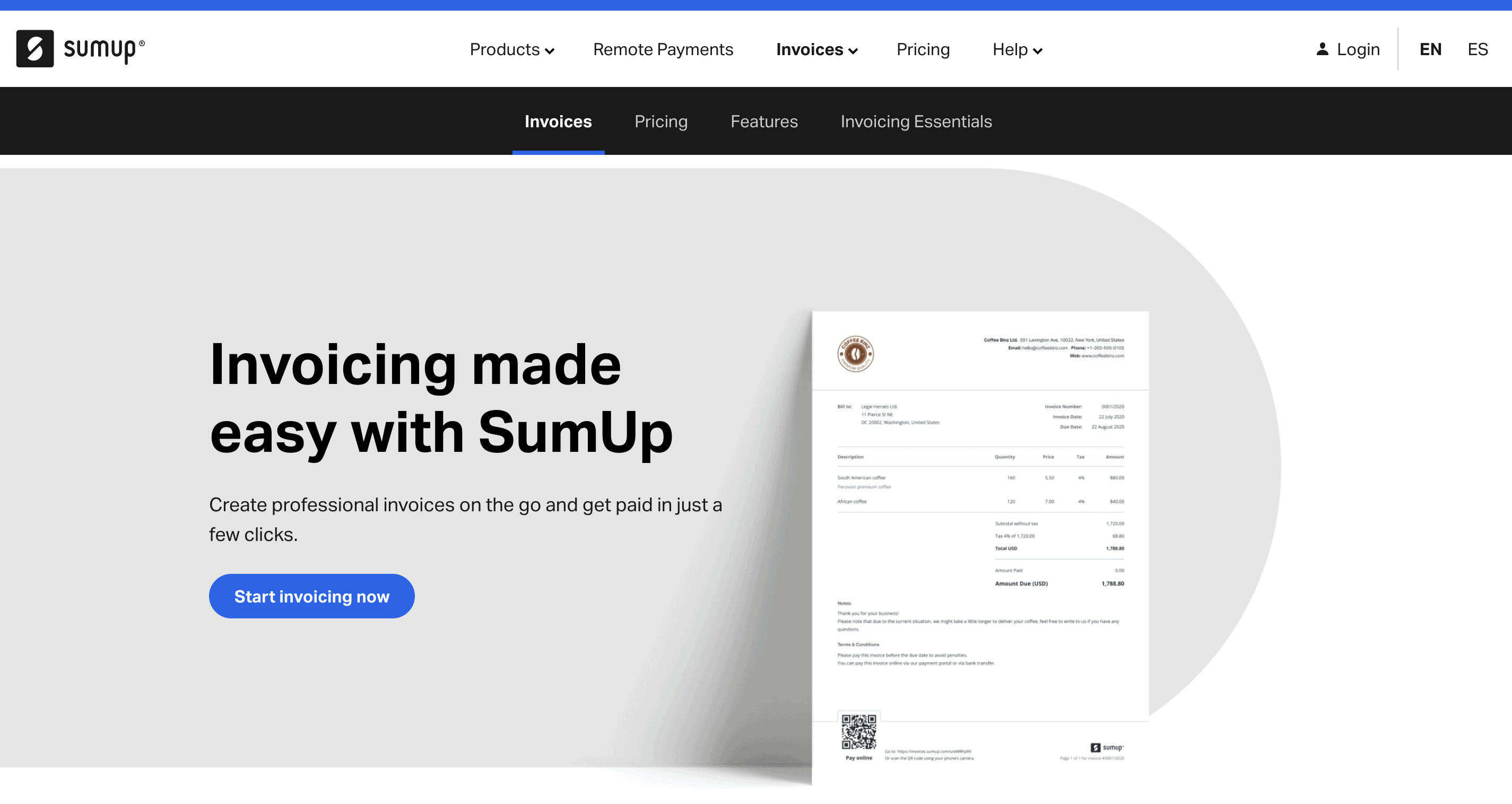 sumup website page about invoicing