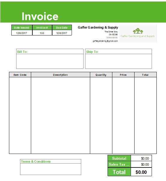 Invoice made with QuickBooks Desktop
