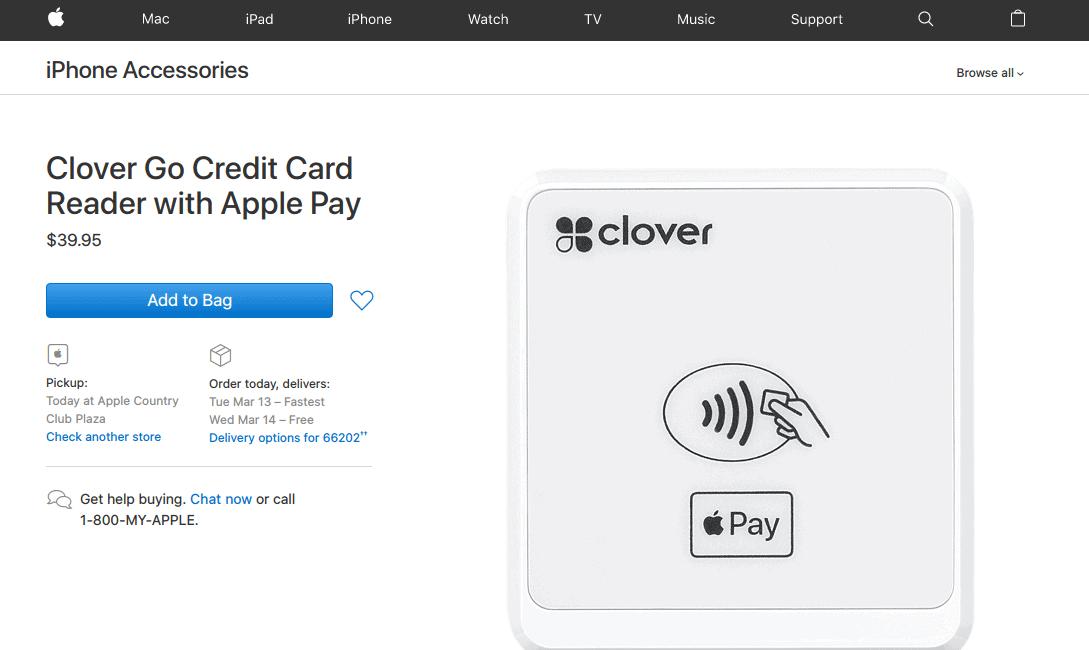 Screenshot of Clover Go reader for sale on Apple website