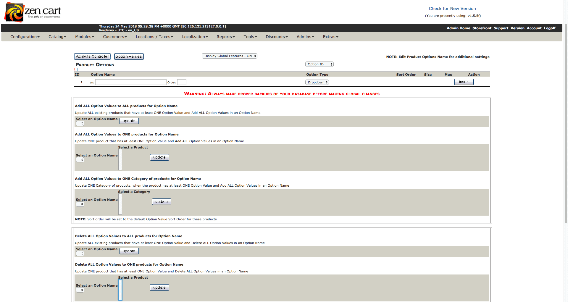 Screengrab of Zen Cart attribute controller page