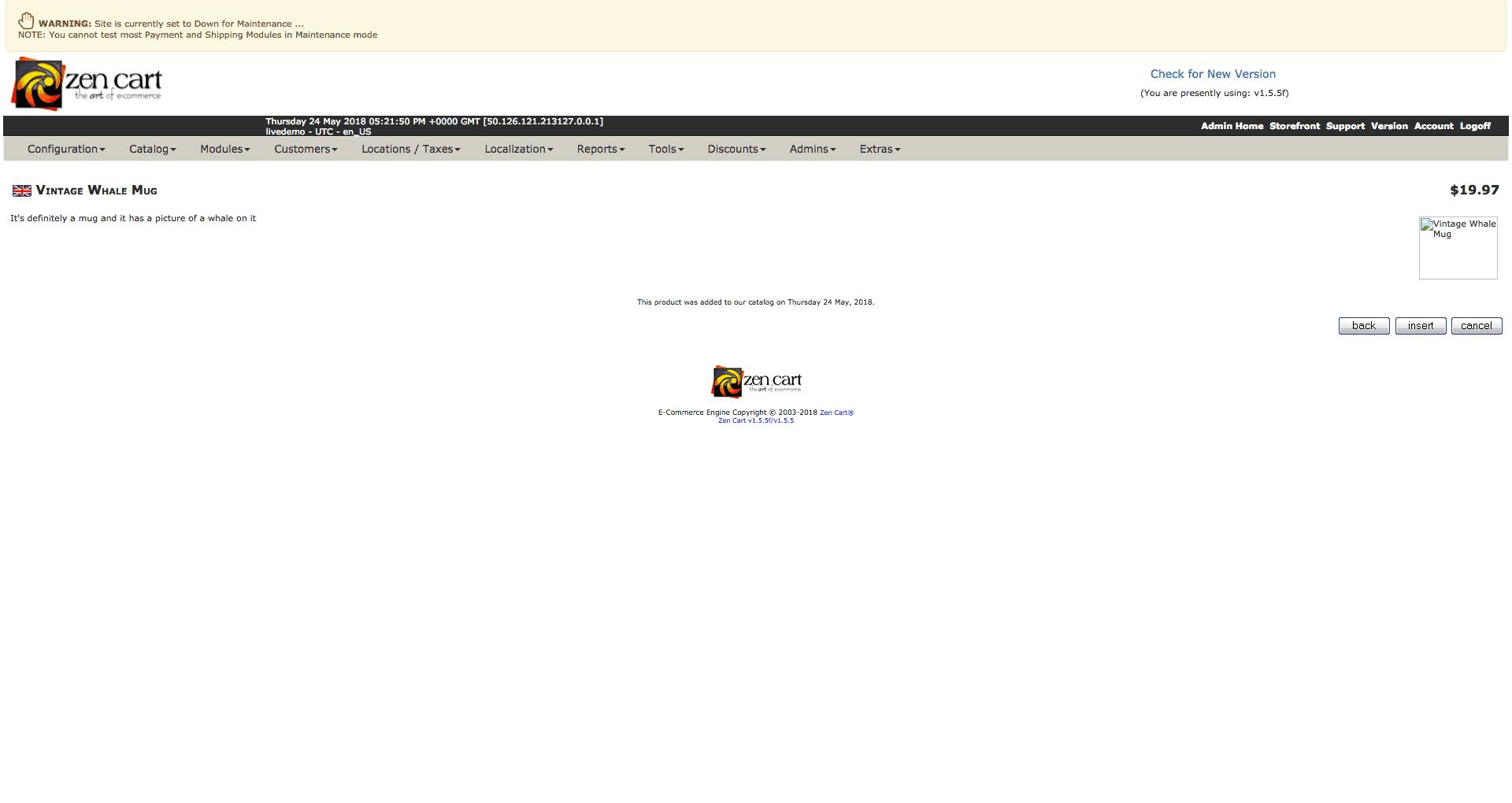 Screengrab of Zen Cart preview page