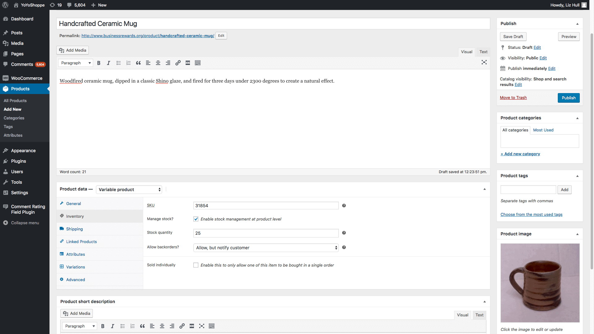 Screengrab showing how to add products to woocommerce
