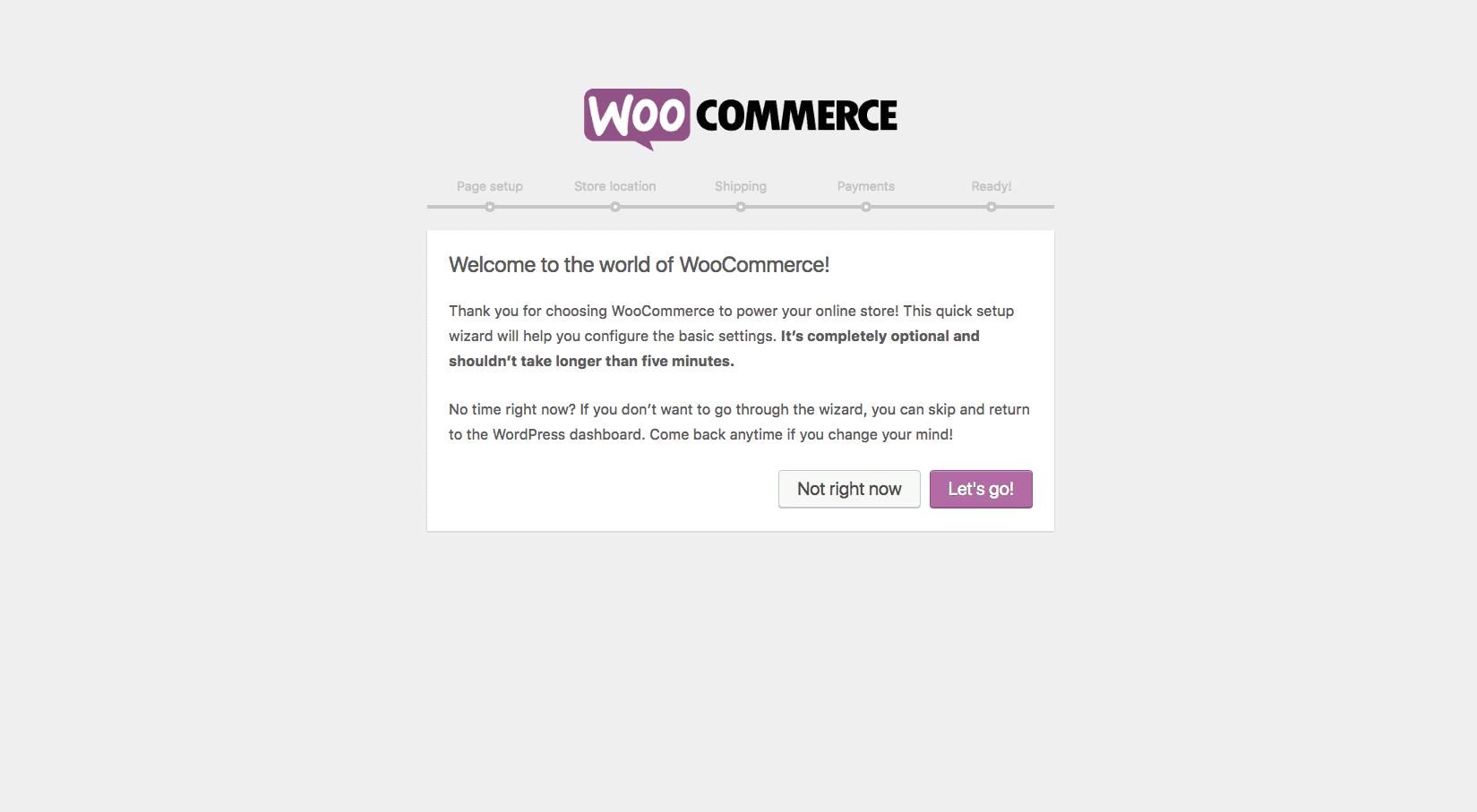 Screengrab of WooCommerce setup wizard