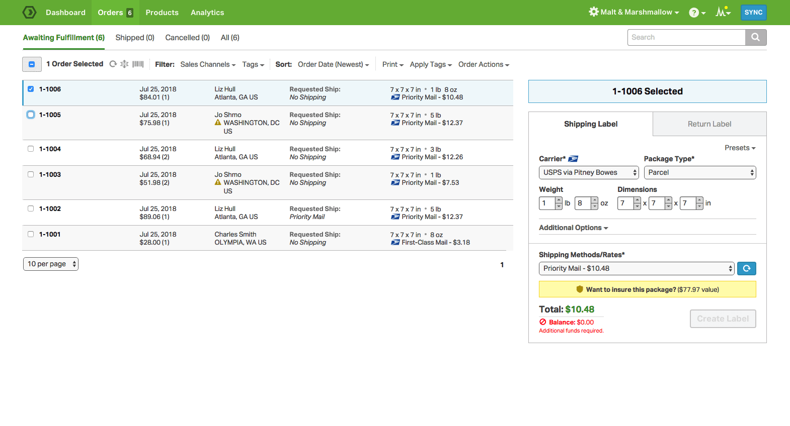 Screengrab of Ordoro user interface