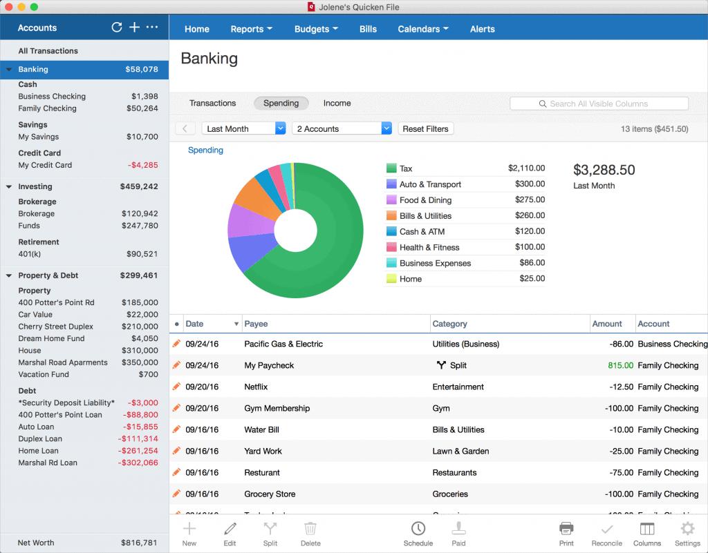 Quicken expense tracking