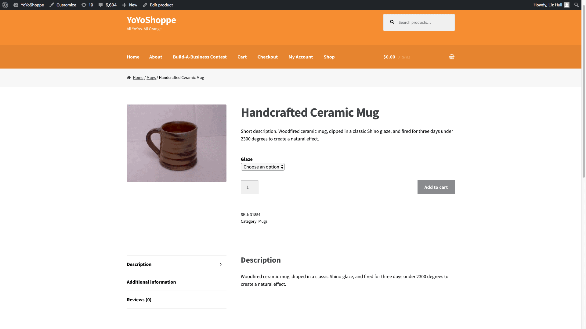 Screengrab of WooCommerce product page