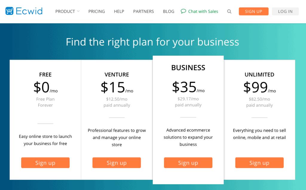Screengrab of Ecwid pricing page