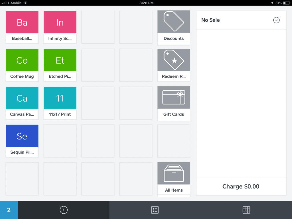 Square Point of Sale app menu page