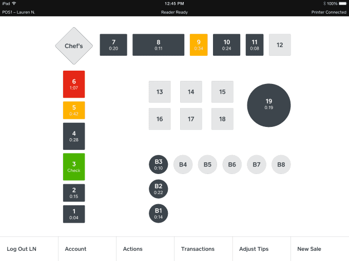 Square for Restaurants features: table mapping