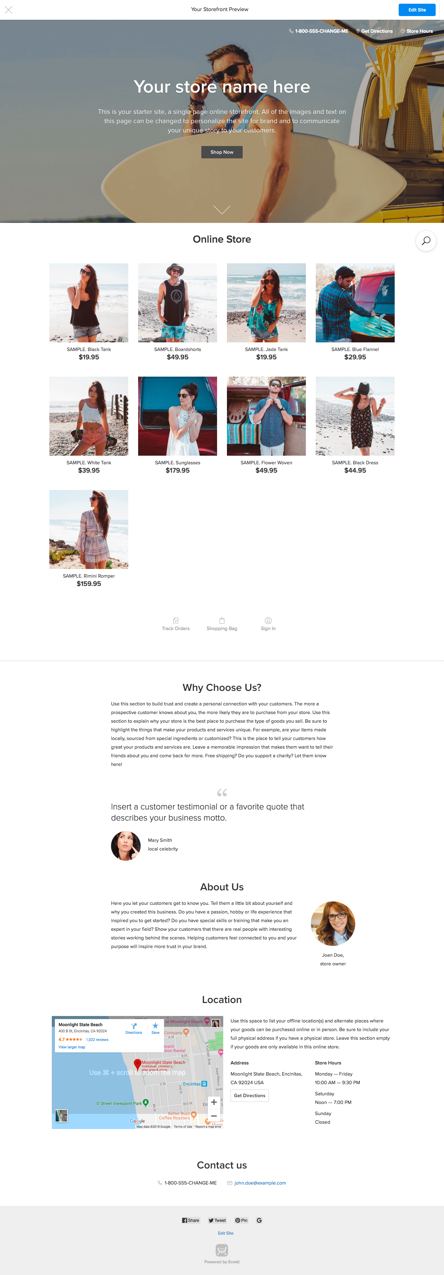 Screengrab of landing page for Ecwid demo store