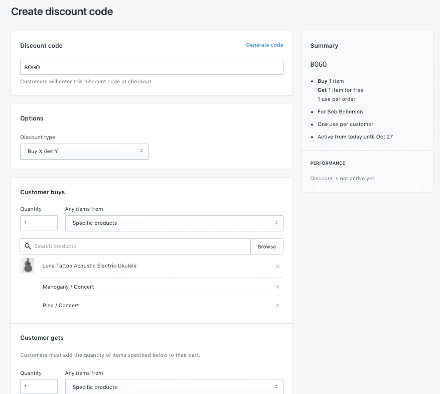 Screengrab showing Shopify product discount functions