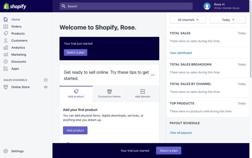 Screengrab of Shopify dashboard