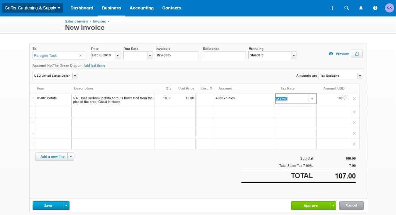 Xero invoicing feature