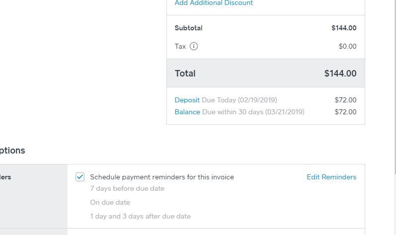 Square Invoice Request Deposit