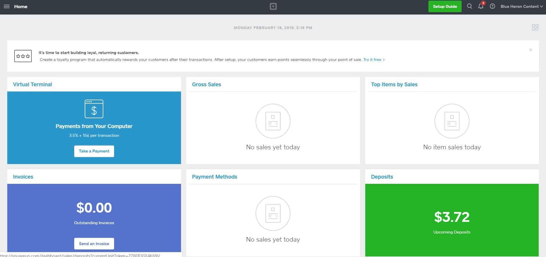 Square Dashboard and Invoices