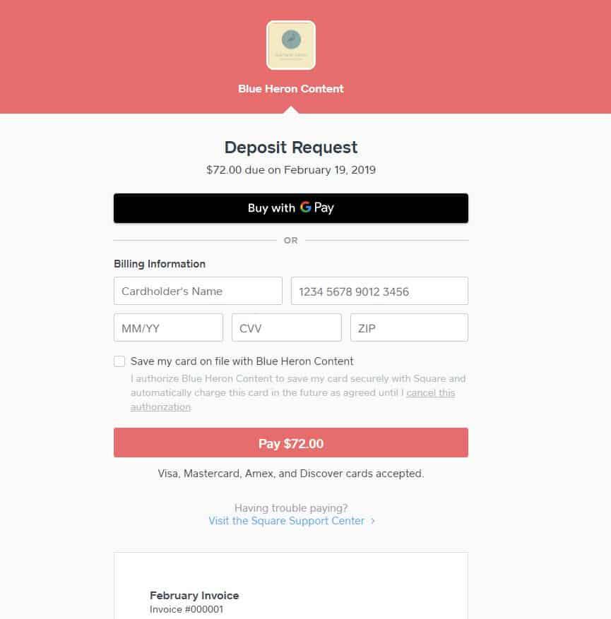Square Invoices Deposit Request Example