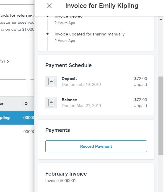 Square Invoices Recording Payment