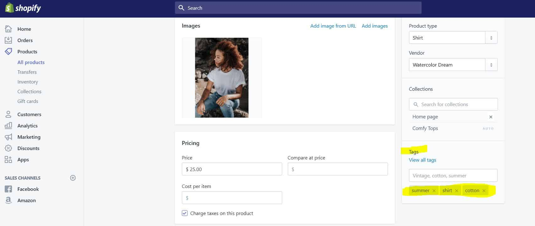 Adding Shopify Product Tags