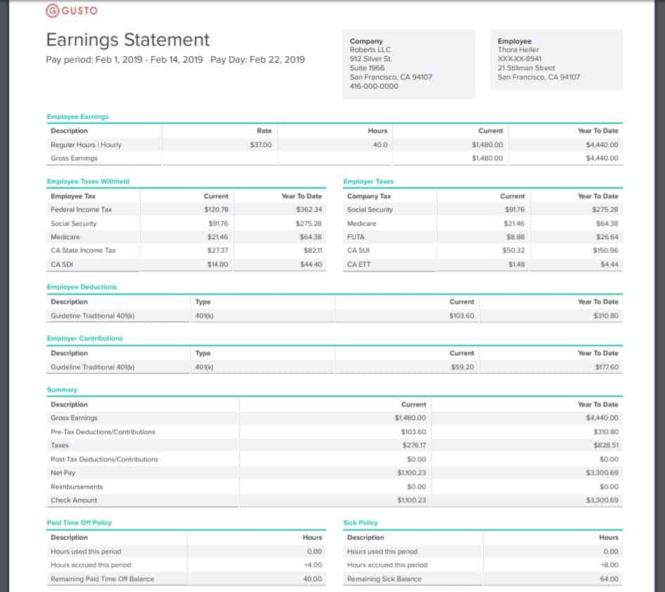 Gusto paycheck earnings statement