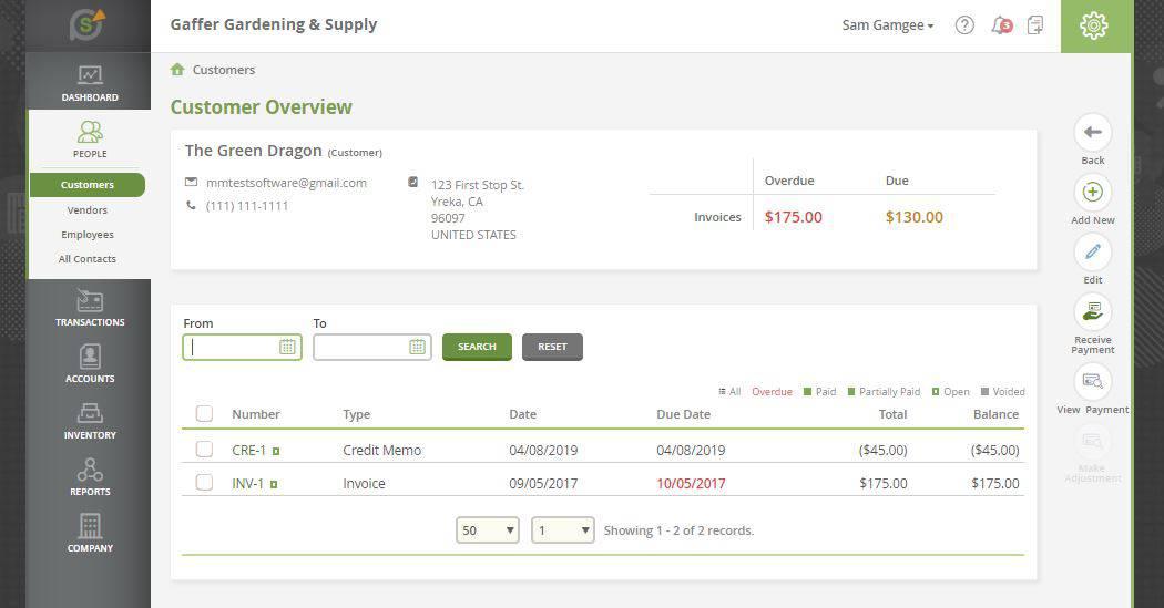 SlickPie contact management feature
