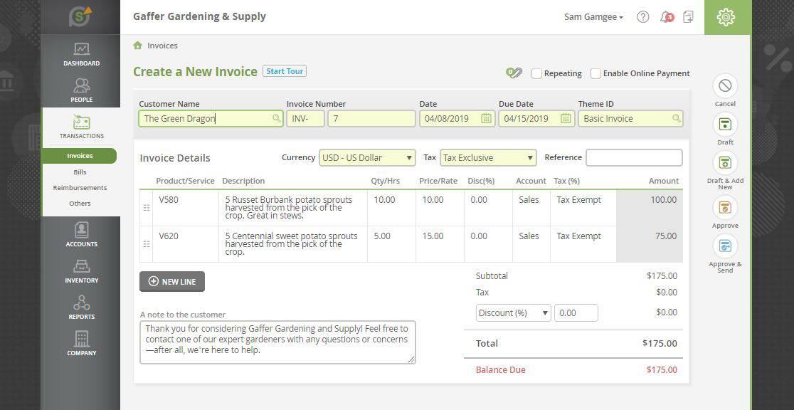 SlickPie invoicing feature