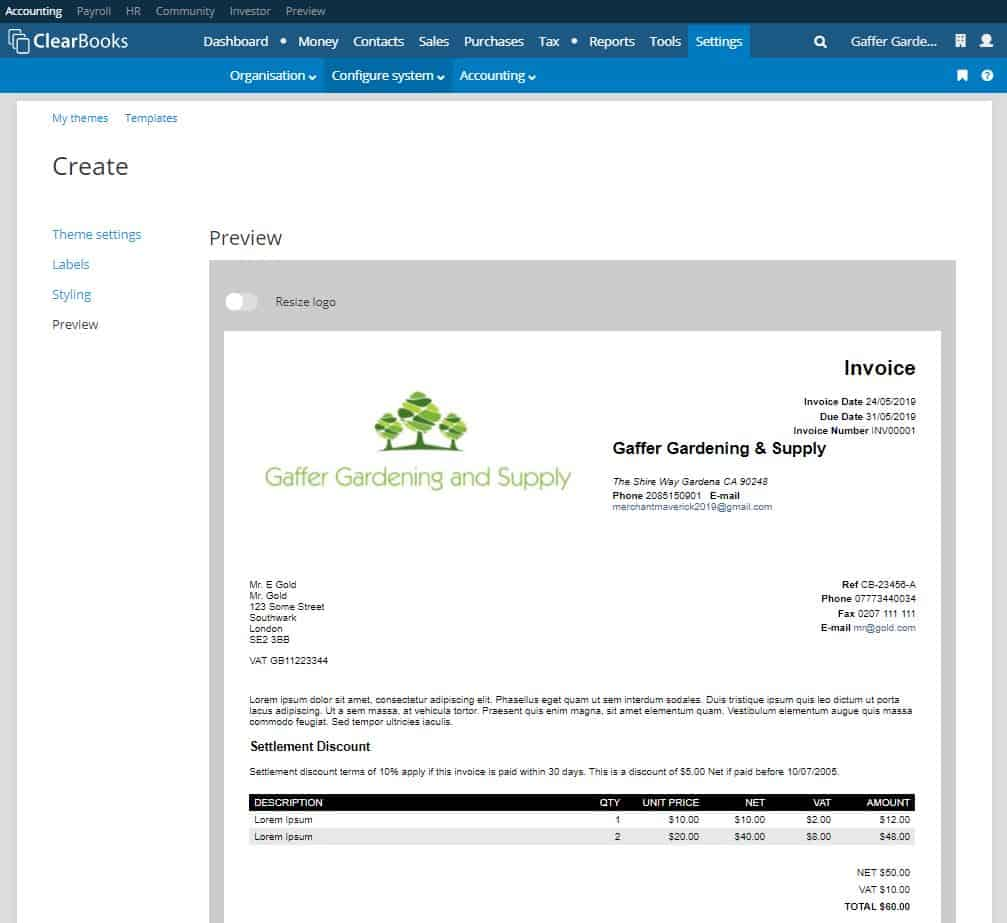 creating an invoice in clear books