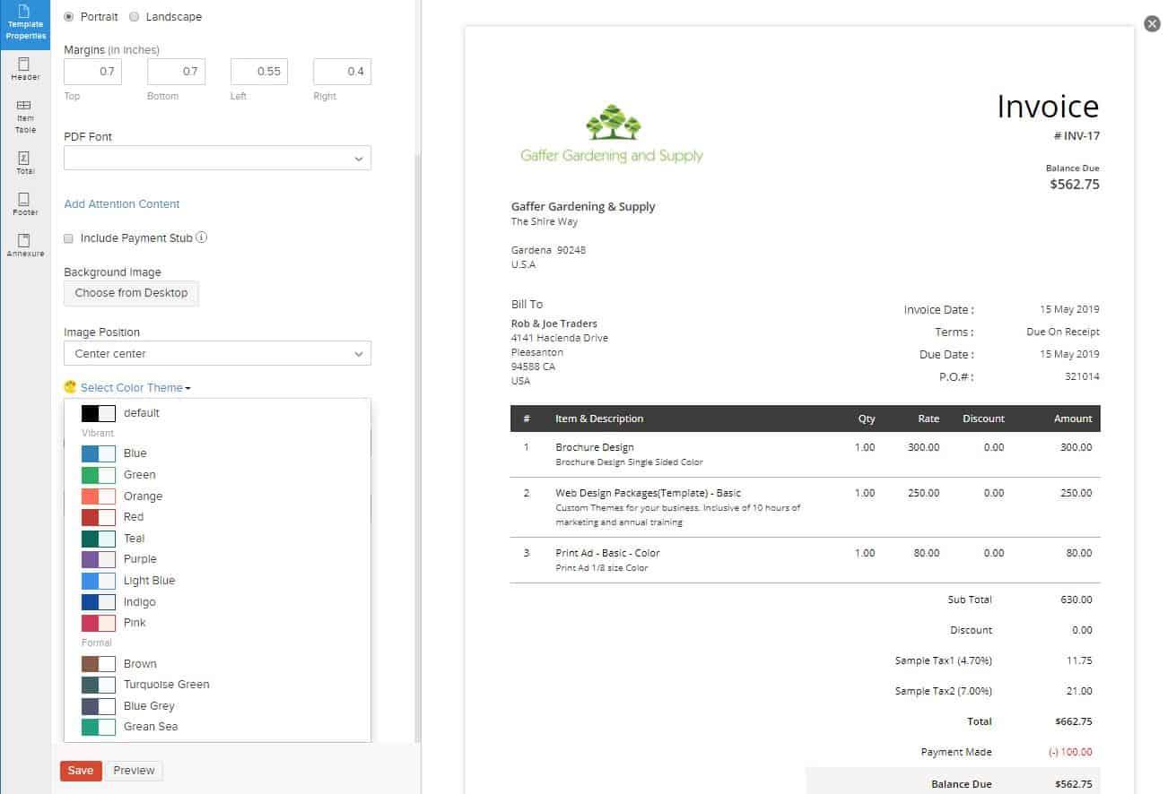 Zoho Books invoicing feature
