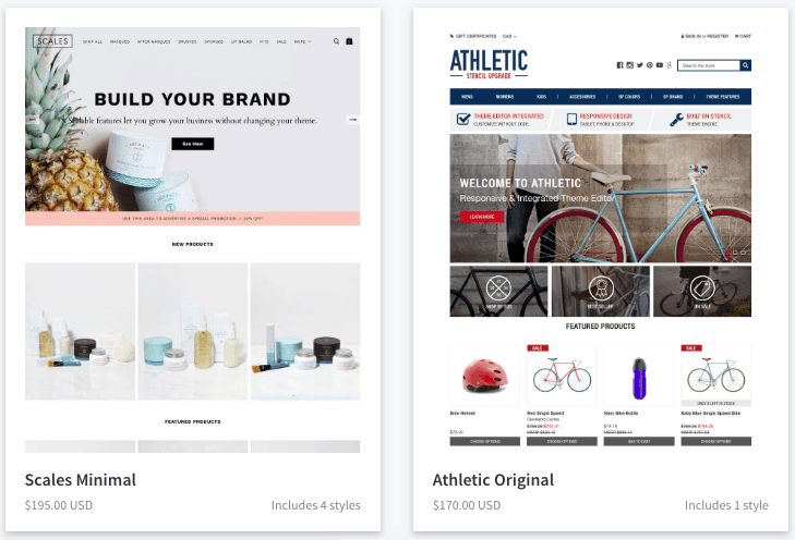 Screengrab showing samples of BigCommerce themes