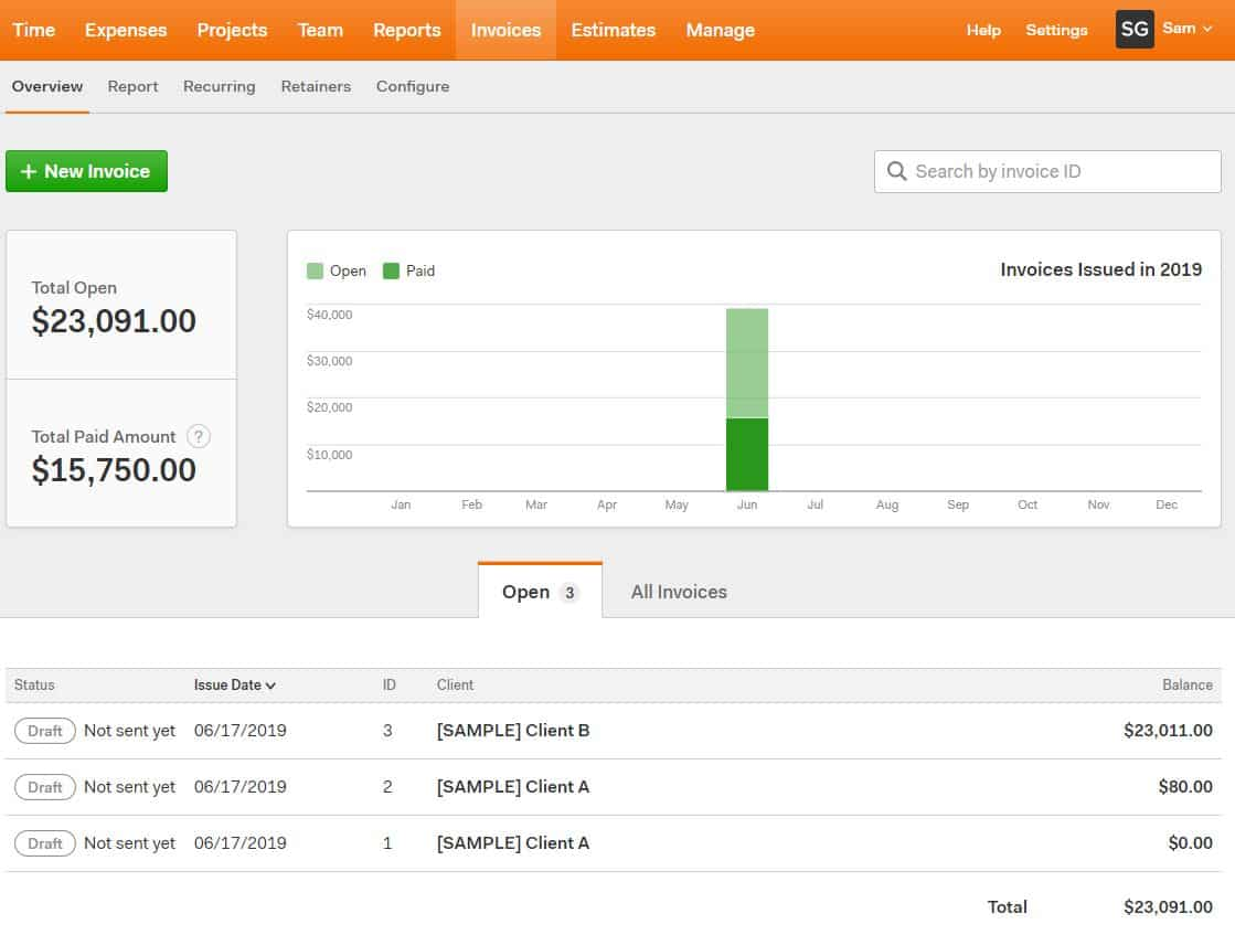 harvest: best all-in-one invoicing and project management software