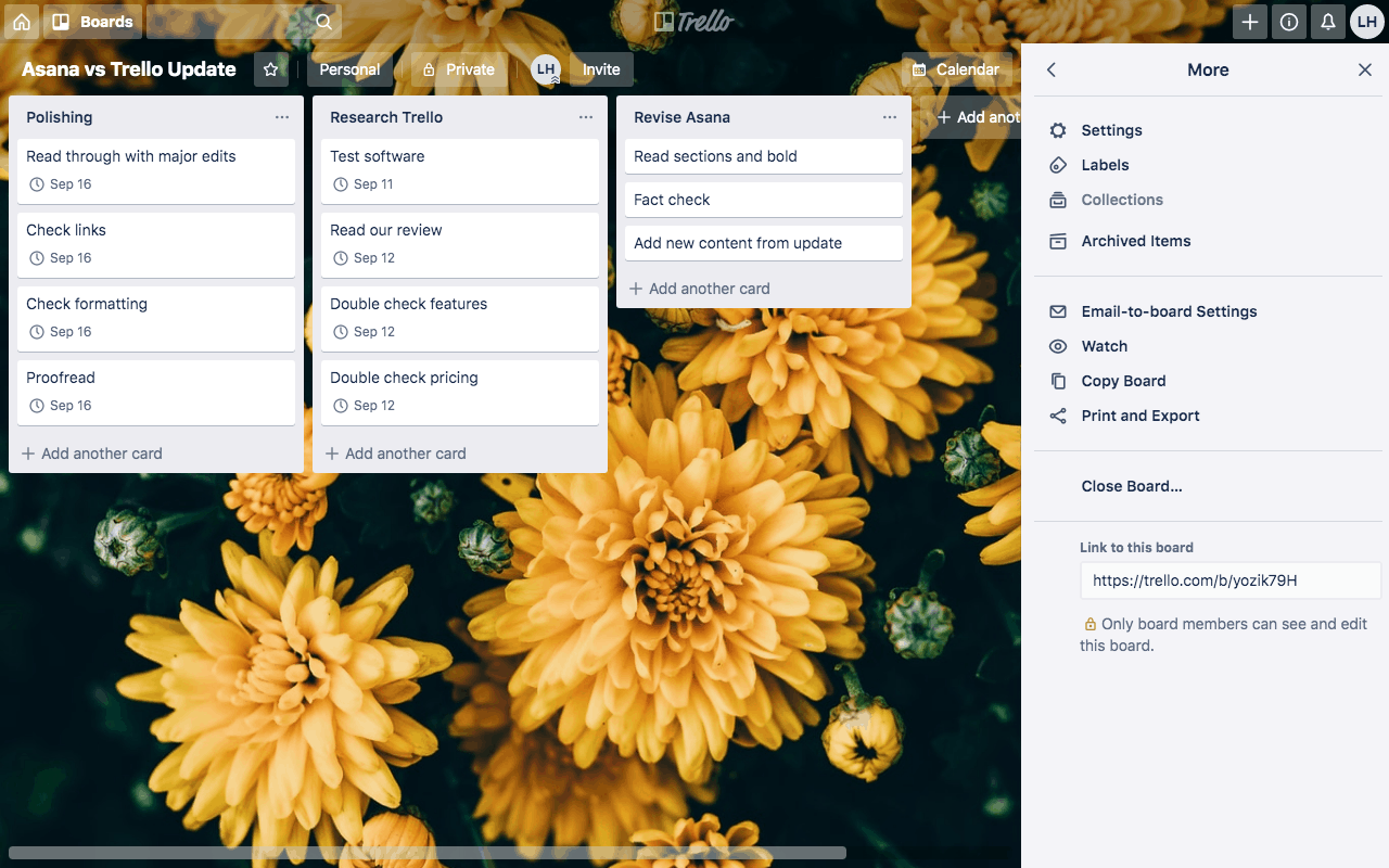 An example Trello project board including three task lists