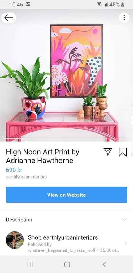 Shoppable Instagram post