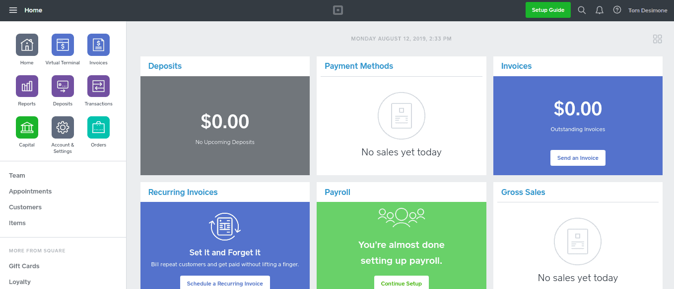 Square Dashboard For The Web