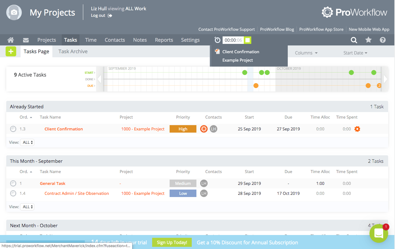 ProWorkflow dashboard including an overview of multiple projects