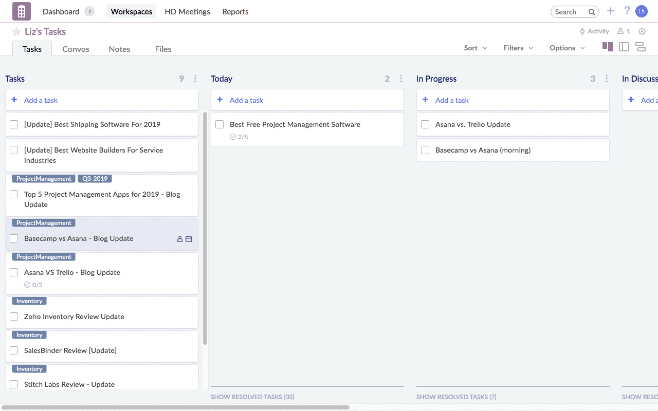 An example Redbooth workspace with three columns of tasks