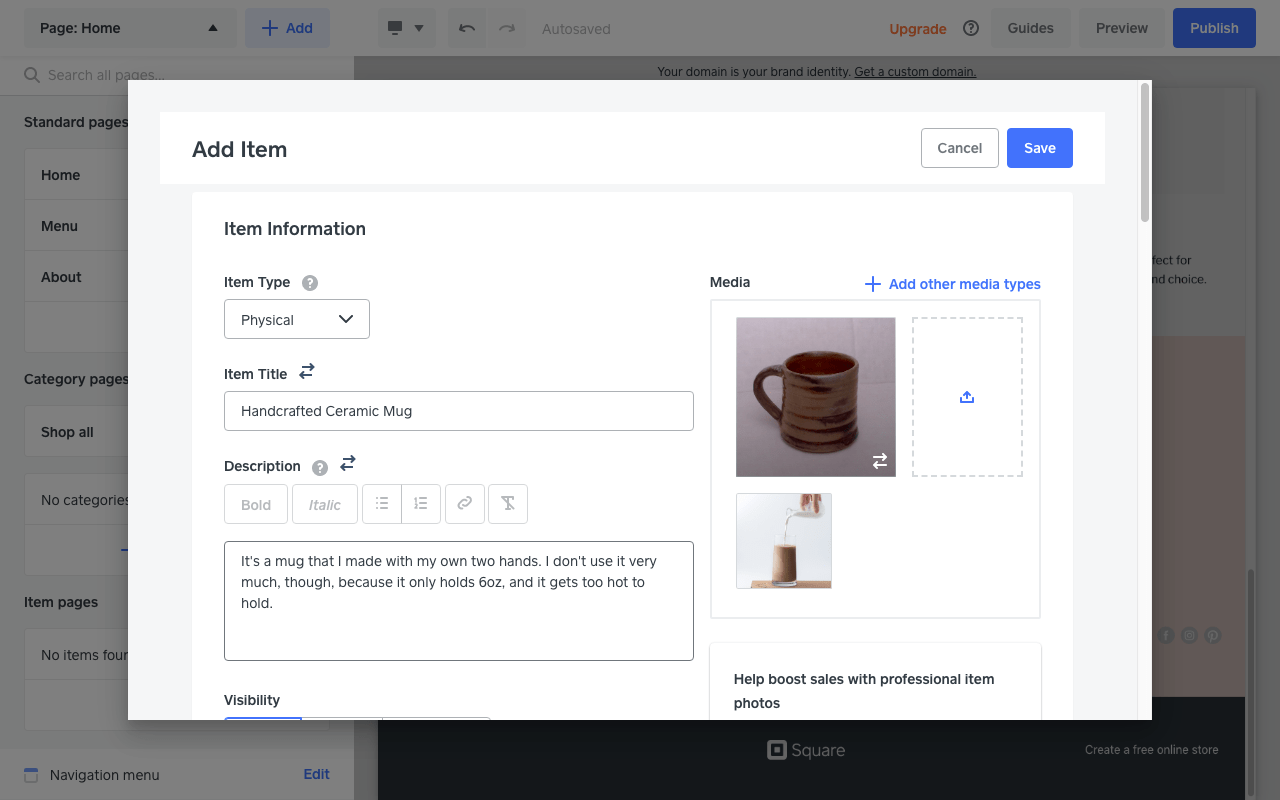 Screengrab of product page in a Square Online store