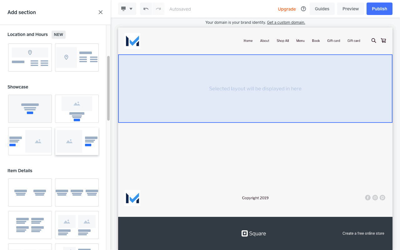 Screengrab showing design options for a Square Online store