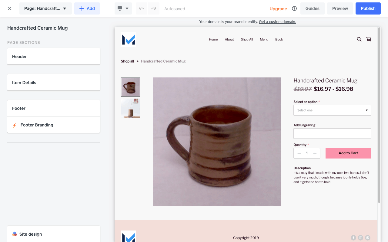 Screengrab of a Square Online store's product page