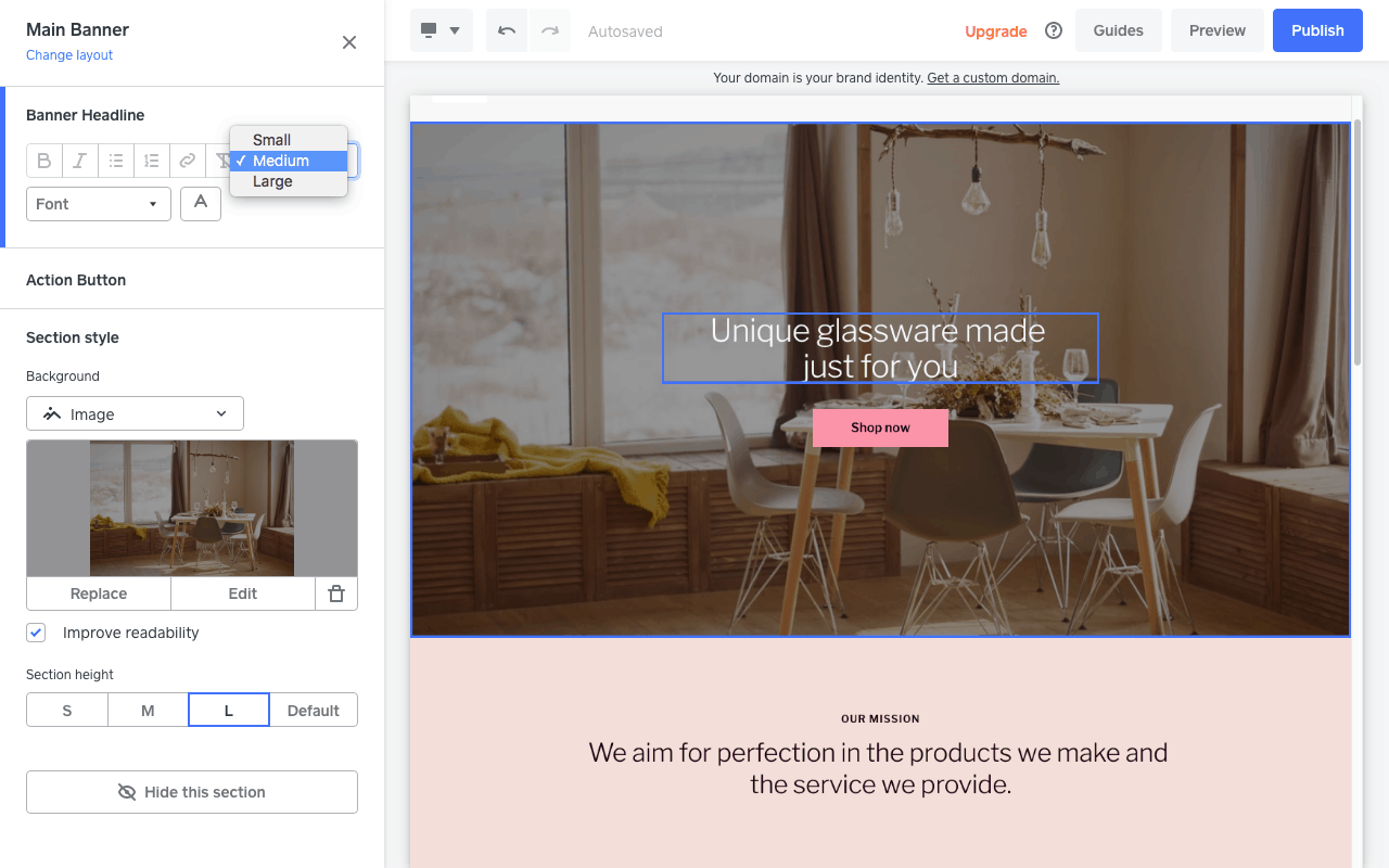 Screengrab showing design customization options for a Square Online store website