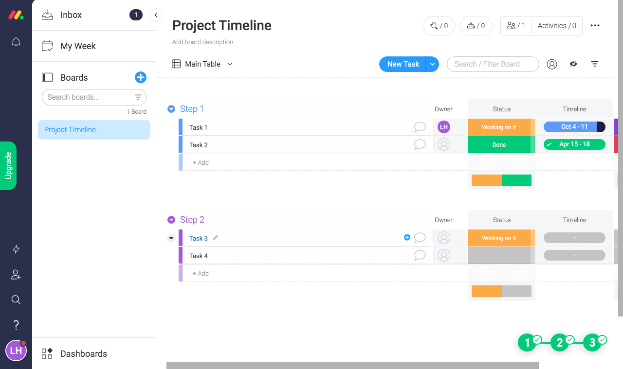 Colorful monday.com dashboard showing a project timeline that displays that status of individual tasks