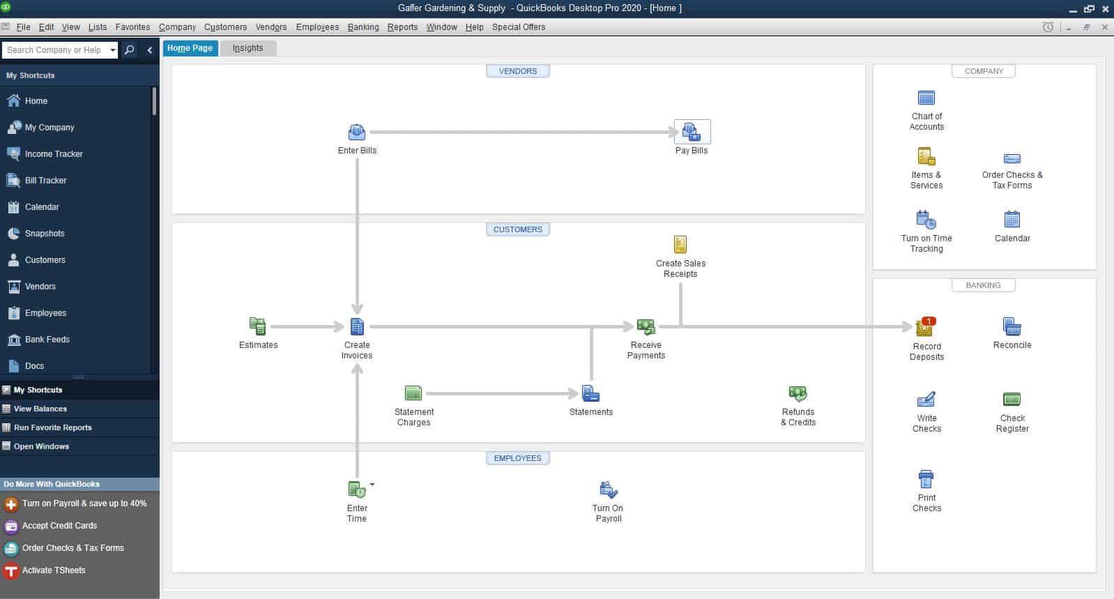quickbooks desktop pro homepage navigation